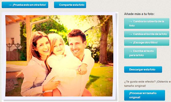 Opciones para descargar fotografía